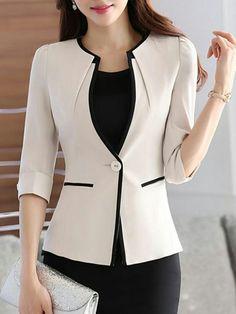 Elegant Contrast Trim Single Button Blazer Source by cryogal fashion Blazer Outfits, Blazer Fashion, Fashion Outfits, Casual Blazer, Woman Outfits, Womens Fashion, Blazers For Women, Suits For Women, Clothes For Women