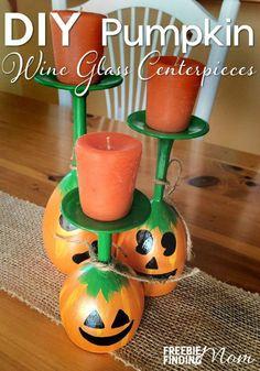 DIY Pumpkin Wine Glass Centerpieces