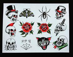 New tattoo traditional moth roses Ideas Hawaiian Flower Tattoos, Small Flower Tattoos, Tattoo Flash Sheet, Tattoo Flash Art, Old School Tattoo Designs, Small Tattoo Designs, Traditional Tattoo Skull, Small Mandala Tattoo, Punk Tattoo