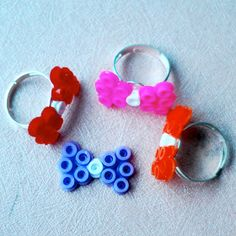 Hama bead Bowtie rings