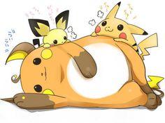 Pichu, Pikachu, Raichu (Pixiv Illustration Id 6224051) Pichu Pikachu Raichu, Pokemon, Nerd, Anime, Kawaii, Fantasy, Manga, Illustration, Fictional Characters