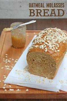 Oatmeal Molasses Bread Recipe, Oatmeal Bread Recipe, Knead Bread Recipe, No Knead Bread, Oatmeal Recipes, Yeast Bread, Molasses Recipes, Honey Oat Bread, Banana Bread