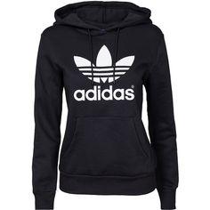 Adidas Originals Trf Logo Hoodie ($85) ❤ liked on Polyvore featuring tops, hoodies, black, jumpers & cardigans, womens-fashion, drawstring hoodie, print hoodies, pattern hoodie, hooded sweatshirt and tall hoodie