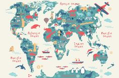 Explore the world with our Explorer Kids Map Wall Mural. Showing a flat color world map with beautiful pictorial elements representing the country it stands in, these fun elements will help your child to embrace new knowledge and be inspired to one day travel the world. Soft colors work well with any interior space, and the mix of teal and red is non gender-specific so can work brilliantly in a playroom or bedroom.