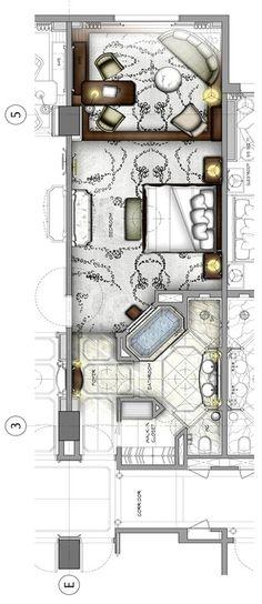 Waldorf Astoria Shanghai on the Bund Tower Building King Room Interior Design Layout, Small Space Interior Design, Interior Design Living Room, Bedroom Floor Plans, House Floor Plans, Hotel Floor Plan, Rm 1, Hotel Room Design, Room Planning