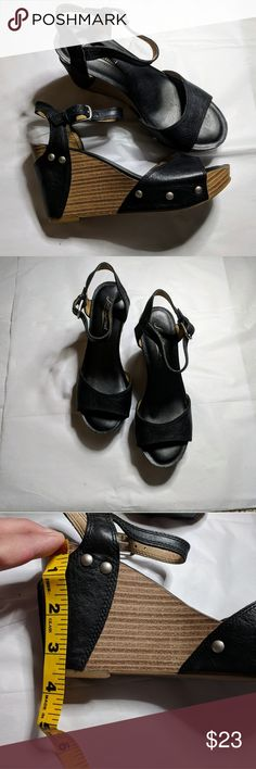 Lucky Brand leather upper wedge sandals size 6 Beautiful black wedge sandals from Lucky Brand. Leather upper.  These are used but in excellent condition.  Equally adorable with a skirt/dress or pants/capris/shorts.  Size 6. Lucky Brand Shoes Wedges