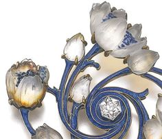 Enamel, glass and diamond brooch, Lalique, circa 1900 Designed as glass flowers spiralling out from a hexagonal diamond, the branches applied with translucent enamel, signed Lalique, French assay mark; together with a similarly set baton link necklace, length approximately 535mm, French assay marks.:
