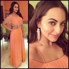 Sonakshi Sinha wore an orange and peach crop top with a pair of palazzos designed by Arpita Mehta