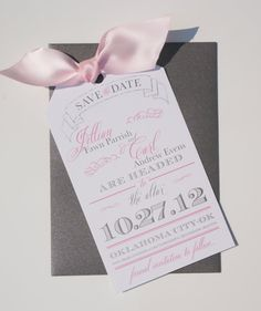 Save the Date Luggage Tag Pink and Gray Card by dovetaildesignok, $1.00