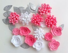 15 Hand made felt 3d flowers/roses & 15 silver by cutzbothways