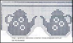 PATRONES - CROCHET - GANCHILLO - GRAFICOS: CENEFA A CROCHET - PUNTILLA TEJIDA A… Filet Crochet Charts, Crochet Borders, Crochet Diagram, Crochet Kitchen, Crochet Home, Knit Crochet, Crochet Trim, Crochet Curtains, Crochet Doilies
