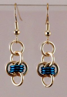 Chainmaille Barrels Earrings  Beaded Silver by TheAlaskanMailleMan, $12.00