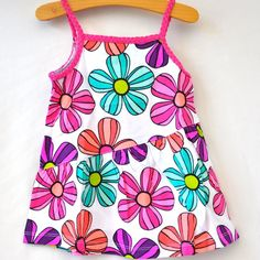 #Toddler Girls Babydoll Top Size 3T White Background Multi Color Floral Kohls New