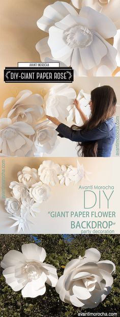 DIY Giant Paper Flower Backdrop / Weddings / Bodas / Mural de Flores Gigantes. https://www.etsy.com/your/shops/AvantiMorochaDIYs