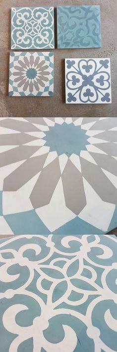 mosaik flisen badezimmer waschtisch floral türkis Turquoise - Aqua