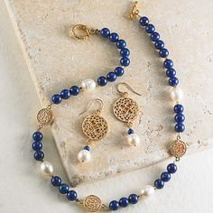 22K Medallion Lapis and Pearl Necklace and Earrings