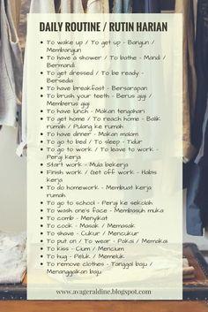 Dental Care Routine health coping skills health ideas health posters health promotion health tips English Vocabulary Words, English Phrases, Learn English Words, English Study, Malay Language, Sms Language, English Language Learning, English Writing Skills, English Lessons