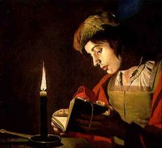 Young Man Reading by Candle Light (oil on canvas) by Stomer, (Stom) Matthias (c.1600-p.1650)