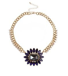 Gold and Blue Gem Flower Choker Necklace perfect with a stripey tee and boyfriend jeans.