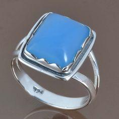 925 STERLING SILVER NEW STYLISH BLUE CHALCEDONY RING 5.26g DJR9050 SZ-9.25 #Handmade #Ring