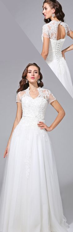 A-Line V Neck Floor Length Tulle Wedding Dress with Beading Appliques Sash / Ribbon by LAN TING BRIDE®