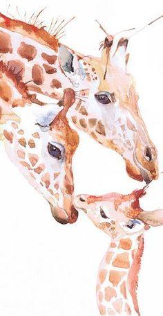 Giraffe Kunstdruck tierische Kunst Gemälde Aquarell