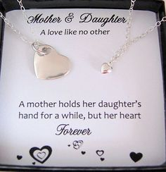 Mother Daughter Necklace, wedding gift for MOM, Heart necklace, Mother ...