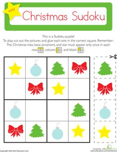 Christmas sudoku lets your child exercise his brain while cutting a pasting festive holiday images. Play Christmas sudoku with your child this holiday season. Patterning Kindergarten, Kindergarten Math Worksheets, Noel Christmas, Winter Christmas, Christmas Crafts, Pattern Worksheet, Sudoku Puzzles, Logic Puzzles, Holiday Images