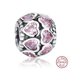 925 Sterling Silver Love All Around CZ Beads Fit Pandora Charm Silver 925 Bracelet Beads & Jewelry Making S065