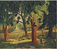 Cork Trees Near Mimizan by Winston Churchill-THE WINSTON CHURCHILL