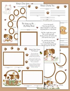 PUPPY PREMADE SCRAPBOOK Pages 12x12 Baby Boy Girl Photo Album First Year Shower Gift Ultrasound Layout #decampstudios