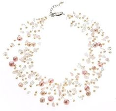 Ivory and Pink Pearl Illusion Necklace with Rose Quartz: lustrousjewellery: Amazon.co.uk: Jewellery