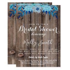 Winter floral blue Bridal shower Card - individual customized designs custom gift ideas diy