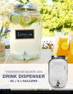 ビンに蛇口をつけてみた。 Yorkshire Mason Jar Drink Dispenser