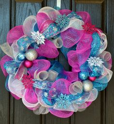 Whimsical Pink and Blue Snowflake Christmas Deco Mesh Wreath by WelcomeHomeWreath, $50.00