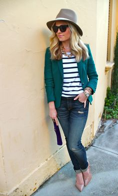 Ignore the hat but I LOVE the blazer - it's a good color to wear with all sorts of bottoms!