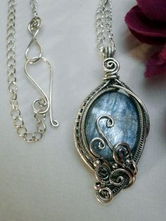 Wire Wrapped Pendant Blue Kyanite in Oxidized by PerfectlyTwisted