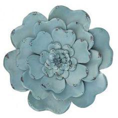 Blue Layered Metal Flower Wall Decor