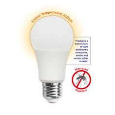 This innovative bulb produces a wavelength of light disliked by mosquitos and certain other insects. Specifications: Supply Voltage: 220 - Wattage: Brightness: Wavelength: Base options: or Energy Efficient Lighting, Indoor Outdoor, Light Bulb, Globe, Led, Lamps, Solar Lamp, Lighting Products, Bulbs