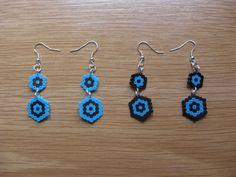 Pendientes doble hexagono hama beads by Ursula