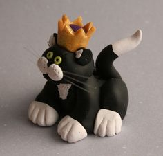Polymer clay king cat