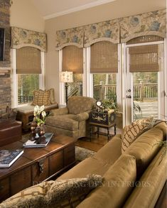 Valances over woven shades. Room designed by Tracy Pulsipher