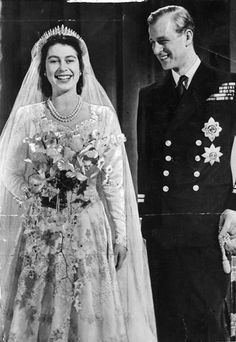 Queen Elizabeth and Prince Phillip at their wedding.