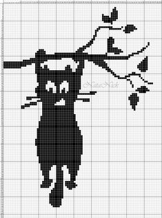 Filet Crochet Charts, Knitting Charts, Cross Stitch Charts, Knitting Stitches, Cross Stitch Designs, Cross Stitch Patterns, Crochet Cat Pattern, Crochet Patterns, Cross Stitching