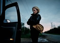 I love this annie leibovitz photo of Lucinda Williams. The car door popping into the frame makes a wonderful compoisition from something that otherwise would have been unremarkable. And she held back on the light, it would be too easy here to hit the lights hard & make the subject pop, twilight was the way to go.