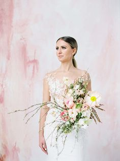 The Prettiest Inspiration For A Colourful Micro-Wedding Beautiful Bouquets, Color Pop, One Shoulder Wedding Dress, Backdrops, Things To Come, Magazine, Bride, Wedding Dresses, Pretty
