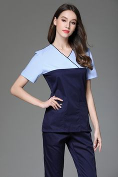 9dd158d62a0 2017 New Fashion Style V-neck Surgical Medical Scrub Sets Short Sleeve  Nurse Uniform Doctors Overalls Hospital Workwear Clothing