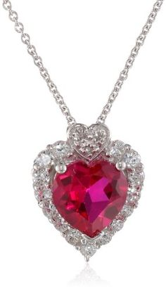"""Sterling Silver Created Ruby and Round Created White Sapphire with Diamonds Heart Pendant Necklace, 18"""": Jewelry"""