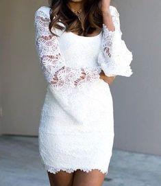 Fashionback Women's Pencil Dress Elegant Sexy Lace Bell Sleeves Mini Party Dress White One Size Elegant Dresses, Casual Dresses, Short Dresses, Dress Long, Wedding Attire, Wedding Dresses, Mini Robes, Pretty Lingerie, Quinceanera Dresses