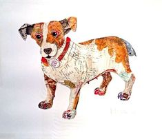 Paper Scrap Doggy Collages: Peter Clark Crafts Visually Appealing Pieces
